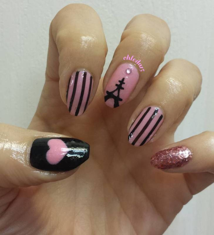 You, Me in Sweet Paris nail art by chleda15
