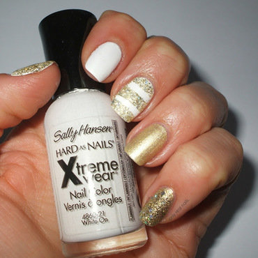 White and gold nail art by only real nails.