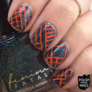 Teal flakie holo orange contrast stripe nail art 4 thumb370f