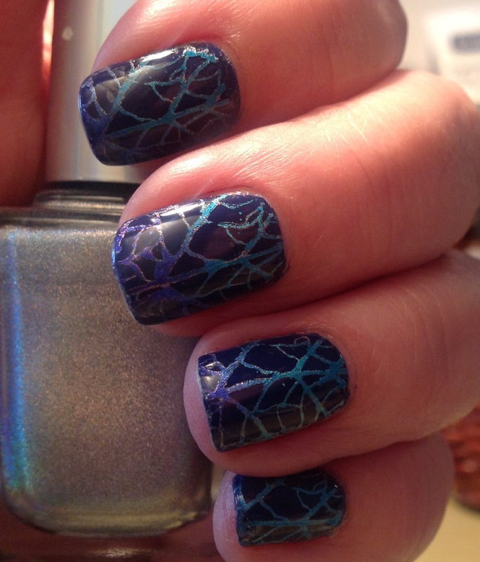 Blue Veins nail art by Ronit