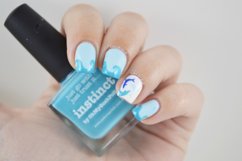 Dolphins nail art by Julia