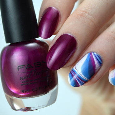 Water Marble nail art by Furious Filer