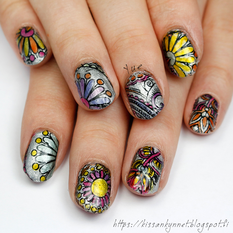 Echoes from last summer nail art by Yue