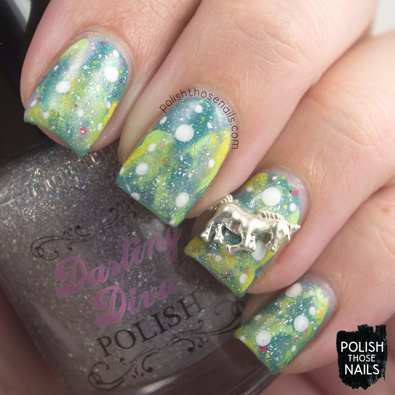 Unicorns & Silver Lemonade nail art by Marisa  Cavanaugh