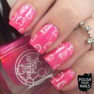 Neon pink sparkle ghost halloween nail art 4 thumb370f
