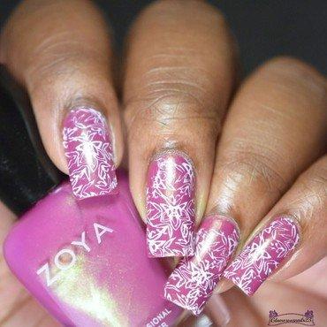Rose & White Stamping  nail art by glamorousnails23