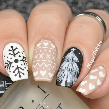 Neutral Christmas Nails nail art by Playful Polishes