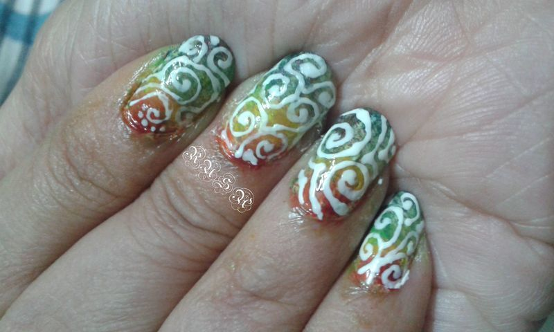 Swirls And Rainbow Nail Art By Rusa Nailpolis Museum Of Nail Art
