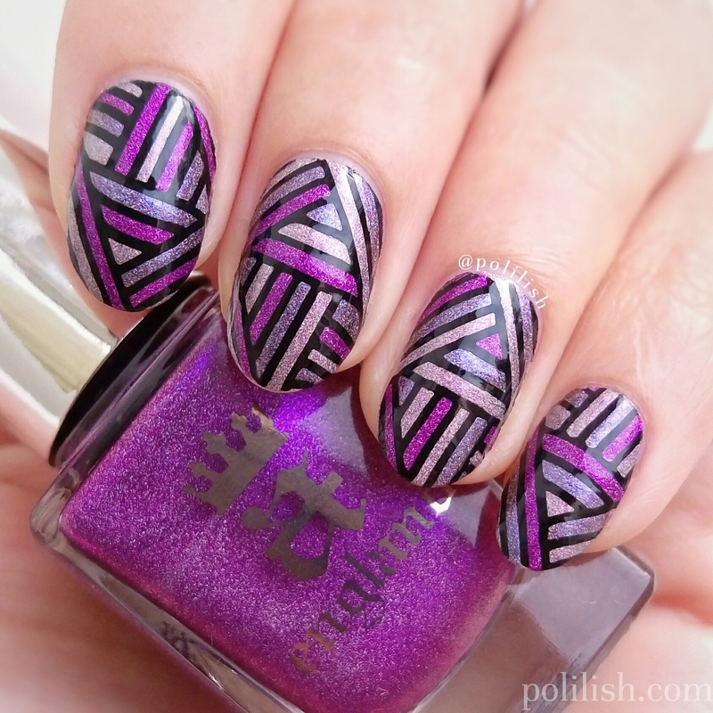 Purple stripes (reverse stamping) nail art by polilish