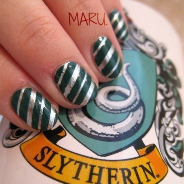 Slytherin nail art by Martina
