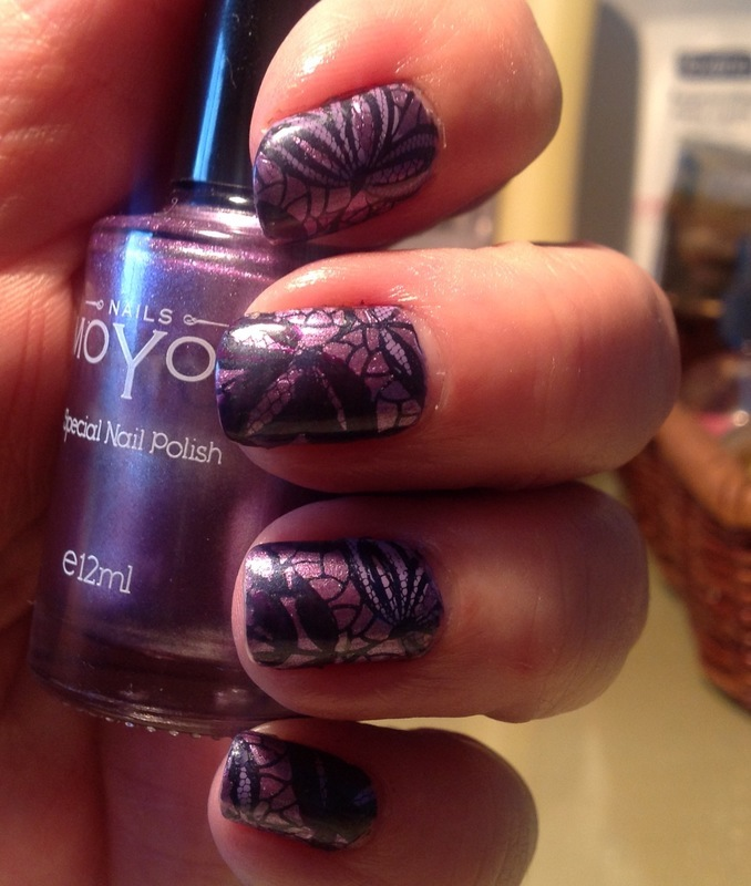 Purple lace nail art by Ronit