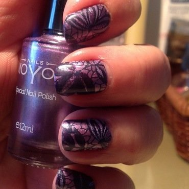 Purple lace nail art by Ronit