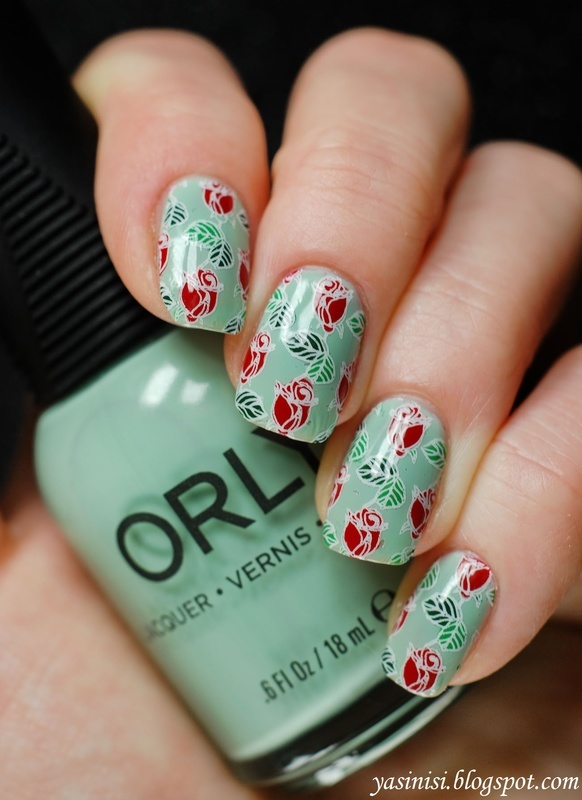 Mint and roses nail art by Yasinisi