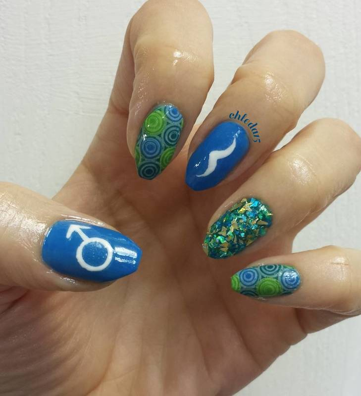 Symbol & 'Stache nail art by chleda15