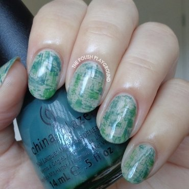 Matte Green and Teal Dry Brush Nail Art nail art by Lisa N