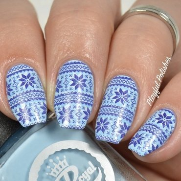 Blue Sweater Nails nail art by Playful Polishes