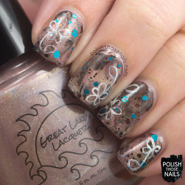 Brown coffee smoosh glitter floral nail art 4 thumb370f