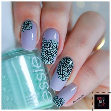Winter Flowers nail art by Love Nails Etc