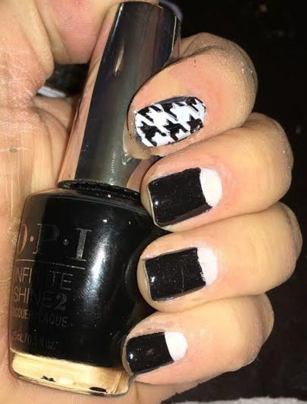 HALF MOON & houndstooth nail art by FRANCESCA SPORTELLA
