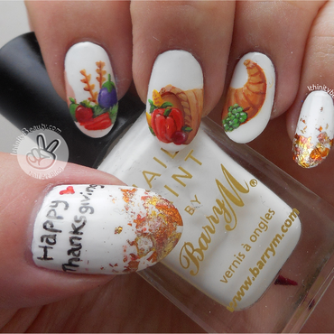 Freehand Thanksgiving Cornucopia nail art by Ithfifi Williams