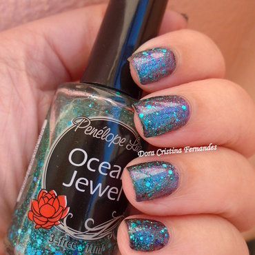 Ocean Jewel + Super Cute nail art by Dora Cristina Fernandes