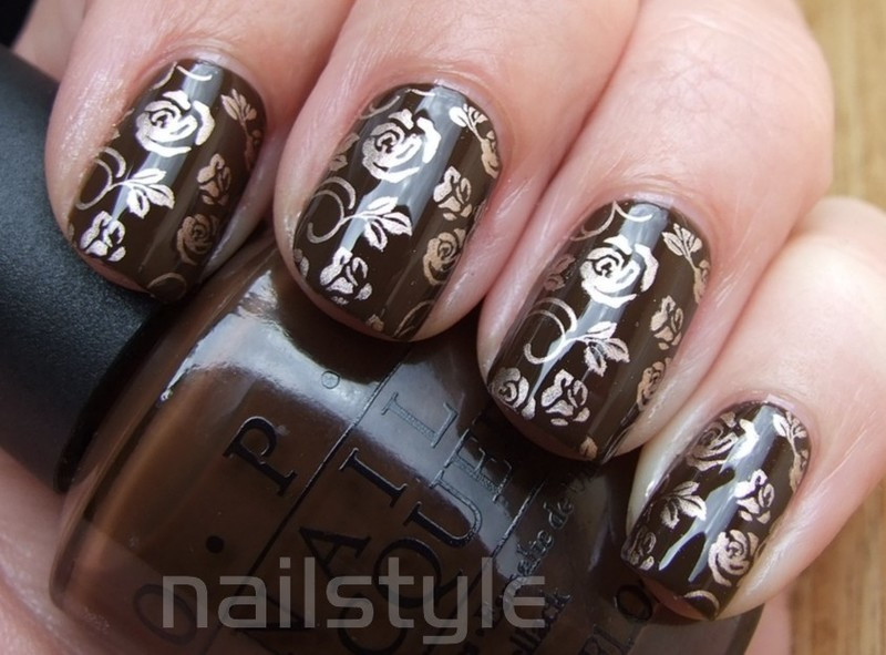 OPI Suzi loves Cowboys with stamping nail art by nail_style