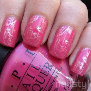 OPI Kiss Me on my Tulips stamped nail art by nail_style