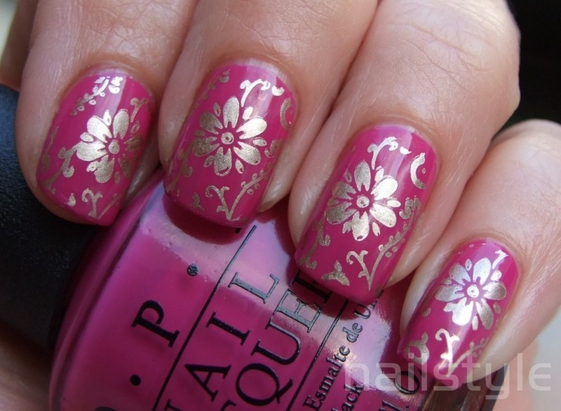 OPI Ate Berries in the Canaries stamped nail art by nail_style