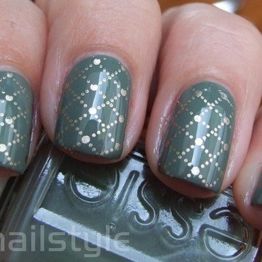 Essie Sew Psyched with stamping nail art by nail_style
