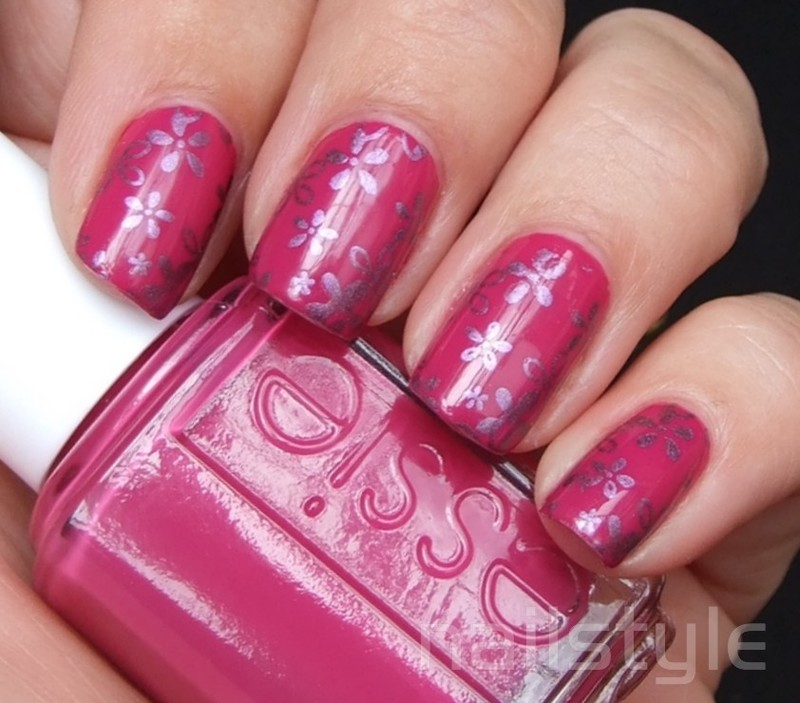 Essie Footloose with stamping nail art by nail_style