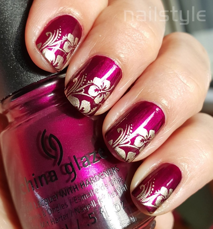 China Glaze Don't Make Me Wine stamped nail art by nail_style