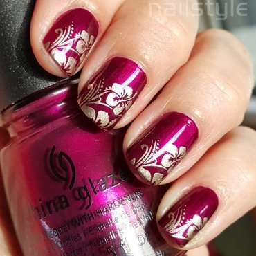 China Glaze Don't Make Me Wine stamped nail art by nail_style