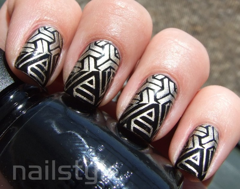 China Glaze Liquid Leather with stamping nail art by nail_style