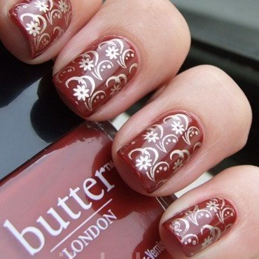 Butter London Old Blighty with stamping nail art by nail_style