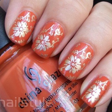 China Glaze Life Preserver with stamping nail art by nail_style