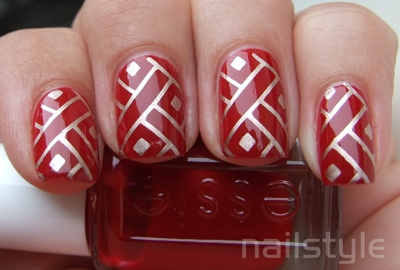 Essie Limited Addiction with stamping nail art by nail_style