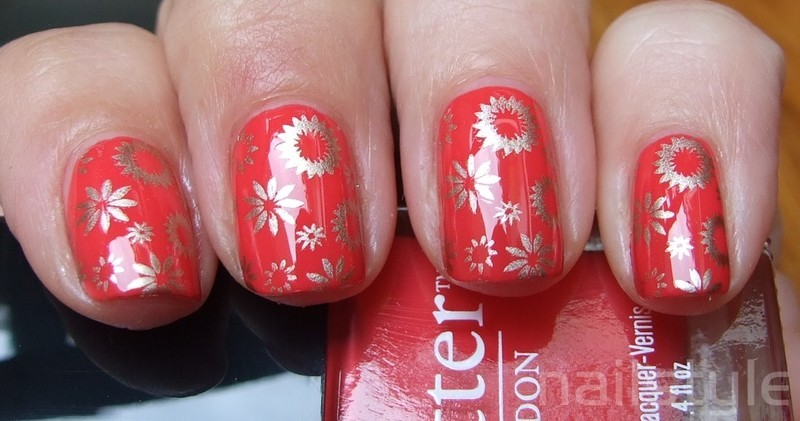 Butter London MacBeth with stamping nail art by nail_style