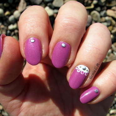 Delicate half moon nail art by Nail Crazinesss
