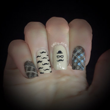 mustache for November Men's health awareness  nail art by Happy_aries