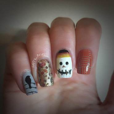 scare crow nail art for fall  nail art by Happy_aries