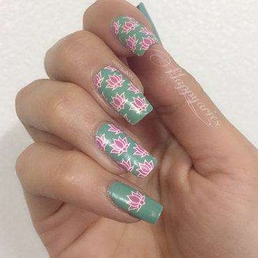 water lilies  nail art by Happy_aries