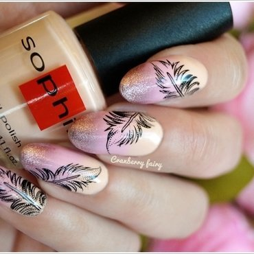 Pastel feather   nail art by Cranberry Fairy