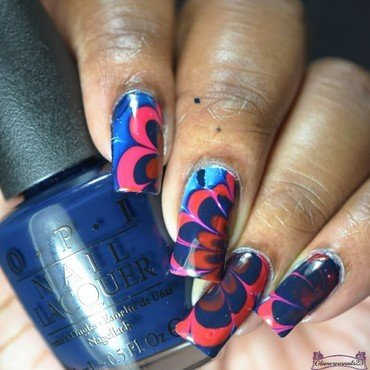 Watermarble Wednesdays: Red & Blue nail art by glamorousnails23