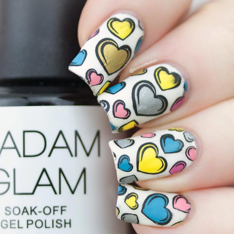 Stamped Heart Nails nail art by Kimett Kolor