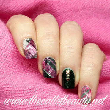 Pink and Green Plaid nail art by The Call of Beauty