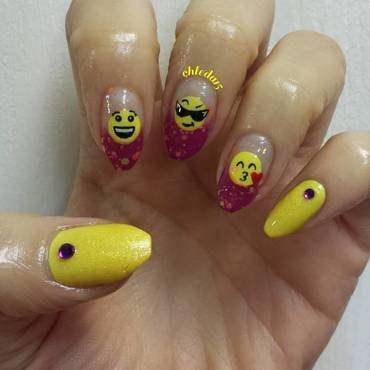 OMG 2 Cute Emoji :P nail art by chleda15