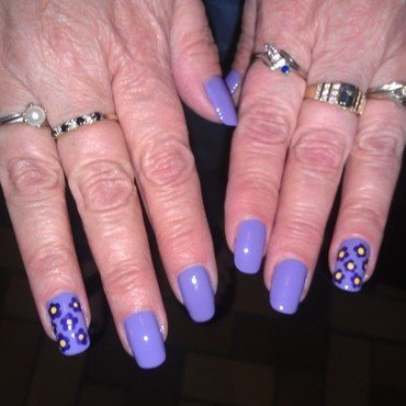 Purple African Violets nail art by Cecilia Brown