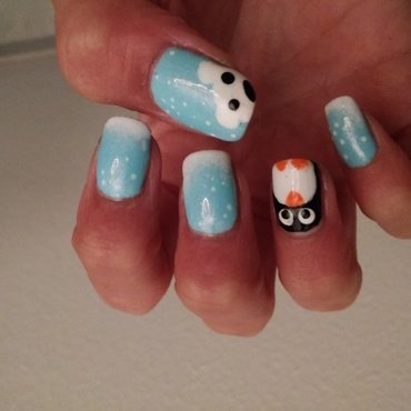 Polar winter nail art by NaNails