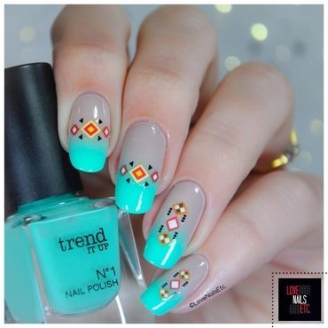 Ethnic Mint nail art by Love Nails Etc