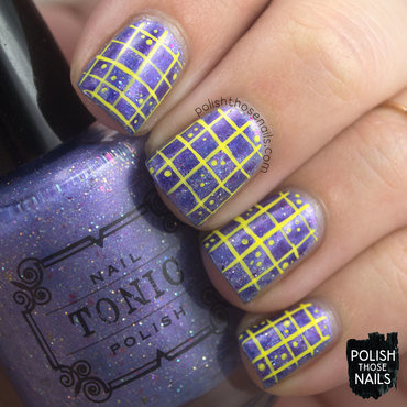 Gridded Tonic Contrast nail art by Marisa  Cavanaugh